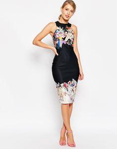 ASOS Dark Based Floral Print Midi Pencil Dress