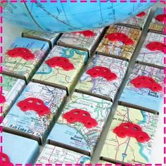 For all of the map lovers in my life!  Perfect for moving announcements or save-the-date.  What fun!  VINTAGE ROAD ATLAS Map Party Favor Matchbox by ivylanedesigns