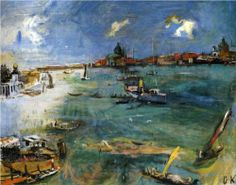 Venice - Boats on the Dogana - Oskar Kokoschka