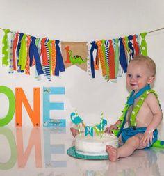 Dinosaur First Birthday, Baby Boy First Birthday, 1st Birthday Cake Smash, Birthday Boys, Birthday Ideas, Birthday Pictures, Baby Boy Banner, Its A Boy Banner, Rag Banner