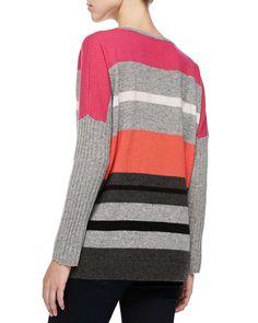 Striped V-Neck Cashmere Sweater