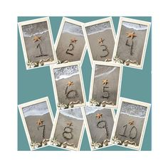Beach Themed Table Number Cards 1-10 by malibelle on Etsy