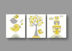 kids wall art, nursery art, baby nursery decor, nursery wall art, bird, owl, yellow, gray, tree, Set of 3, 8x10 Prints