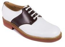 Church's Women's White Brown Leather Bennie Saddle Oxfords.