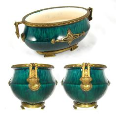 Paul Milet for Sevres French Porcelain Jardiniere, Flambe Glaze, Signed DELAUNAY Bronze Mounts from Antique Boutique on Ruby Lane