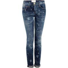 CURRENT/ELLIOTT Write-on Rolled Skinny Jeans ($337) ❤ liked on Polyvore
