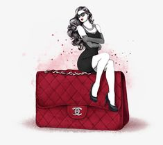 Mon Amour (Chanel Inspiration) by Cristina Alonso, via Behance 2.55 Chanel, Moda Chanel, Fashion Bags, Love Fashion, Fashion Clipart, Fashion Business, Bag Illustration, Fashion Artwork, Modelos Fashion
