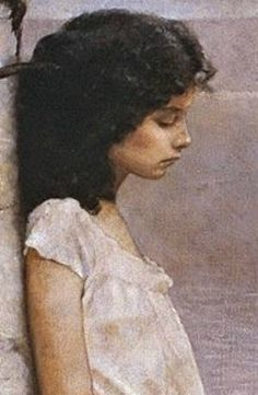 """Jeffrey Catherine Jones, """"Age of Innocence"""", detail.  Love the shape of her nose--her downturned lips--her dark eyelashes and eyebrows.  So much emotion here."""