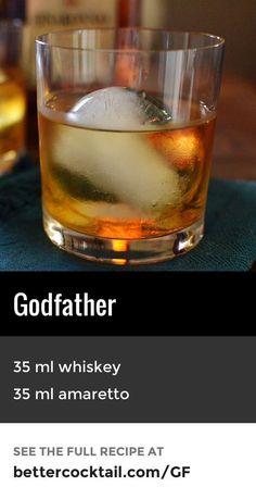 The Godfather cocktail is a sophisticated, yet simple recipe. It consists of just two ingredients: scotch whisky and amaretto. {wineglasswriter.com} Come and see our new website at bakedcomfortfood.com!