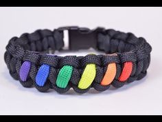 ▶ Make a Rainbow Colored Paracord Survival Bracelet with Buckle - BoredParacord - YouTube