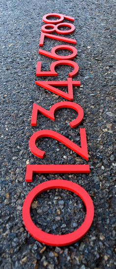 Items similar to Modern House Numbers Recycled Aluminum Set of 4 numbers tall in RED on Etsy 6 House Number, Garden Plaques, Folder Design, Secret Rooms, Font Setting, Porch Lighting, Modern Fonts, Modern Exterior, Modern Country