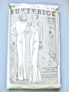 1930s Evening Gown Pattern by Butterick 5657  Bust 34 by Fancywork