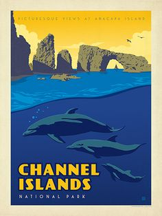 Channel Islands National Park - Anderson Design Group has created an award-winning series of classic travel posters that celebrates the history and charm of America's greatest cities and national parks. Founder Joel Anderson directs a team of talented Nashville-based artists to keep the collection growing. This print celebrates the pristine beauty of the Channel Islands National Park.