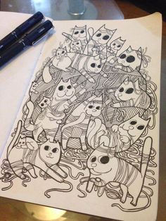 Misadventures of Ordinary Cats on Behance Cat Drawing, Card Ideas, Behance, Cats, Drawings, Gatos, Sketches, Cat, Drawing
