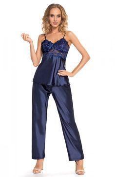 0dbda064671dfe Donna Venus piżama granatowa Elegancka dwuczęściowa piżam a damska wykonana  z ekskluzywnej satyny, bluzeczka na