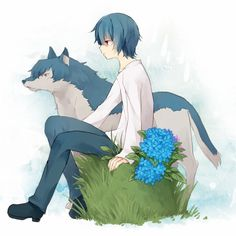 Ame the Wolf Boy with blue flowers from Wolf Children Wolf Children Ame, Beautiful Dark Art, Gaara, Anime, Original Image, Werewolf, Blue Flowers, Disney Characters, Fictional Characters
