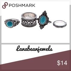 "Set of 4 trendy rings! Silver ring set with detailed design. Size 0.4, 0.7, 0.8, 0.8"" diameter Jewelry Rings"