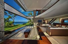 Maui open plan living area-Jewel of Kahana House - Oceanfront in West Maui, Hawaii Future House, Interior Architecture, Interior And Exterior, Mansion Interior, Amazing Architecture, Exterior Design, Beautiful Homes, Beautiful Places, Terrasse Design