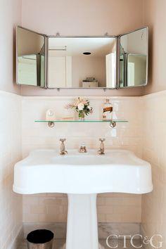 three-way mirror for small bathroom Small Bathroom Mirrors, French Bathroom, Condo Bathroom, Simple Bathroom, Small Bathrooms, Mobile Home Makeovers, Mobile Home Decorating, Guest Bath, Bathroom Inspiration