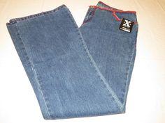 C'EST TOi  LVLX Level10 size 11 Juniors women blue red stitch Denim jeans NWT# #CestToi #Flare