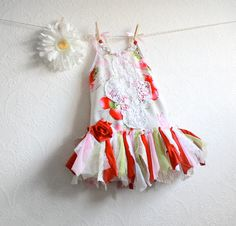Toddler Fairy Dress 3T Red Flowers Children's Clothing Christmas Dress Shabby Chic White Lace Girl's Upcycled Kid's Holiday Clothes 'JULIA'. $68.00, via Etsy.