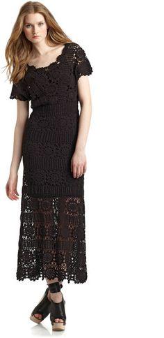 cd3b604bf735a Free People Fairytale Crochet Maxi Dress in Black - Lyst Free People Dress
