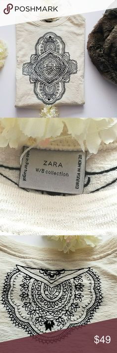 🎉HP🎉 Zara W/Bcollection longsleeve Embroider Top Zara W/B collection long sleeve Embroidered  Top  Approximate measurements  Bust 48 in. Shoulders 22.5 in. Sleeves 19 in.   Underarm sleeve 16 in. Waist 45 in. Zara Tops