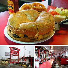 Giant 5-lb. burger at Ed Walker's Drive-In Diner in Fort Smith, Arkansas. Also one of the only places left in the nation where you can drink a beer that's been delivered to your car. This burger can feed a whole family, and comes with a pie server to cut it into wedges.