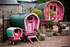 These fairytale caravans make me think of the three bears--each living in a private vardo.