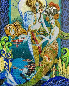 Under the Sea - - Bedecked and Beadazzled Needlepoint Stitches, Sirens, Under The Sea, Canvas, Metal, Painting, Art, Tela, Art Background