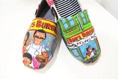 Bob's Burgers Shoes (Toms, Slip ons, Flats, Bob, Linda, Tina, Gene, Louise Belcher, burger) Men, Women, Kids by CaseOfCuties on Etsy https://www.etsy.com/listing/200745400/bobs-burgers-shoes-toms-slip-ons-flats