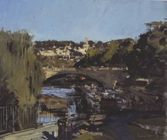 """Peter Brown NEAC: Bright October morning, North Parade Bridge from Ferry Lane, 2013 Oil - 10"""" x 12"""""""