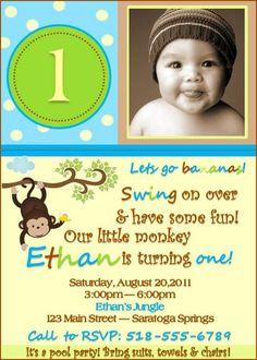 Monkey Birthday Invitation  Boy & Girl Design  by Swankk on Etsy, $3.00