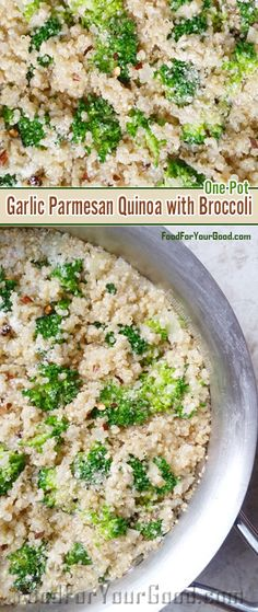 Delicious One Pot Garlic Parmesan Quinoa with Broccoli | FoodForYourGood.com #one_pot_garlic_parmesan_quinoa_with_broccoli
