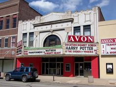 Harry Potter movie on marquee of Avon Theater in downtown Decatur Illinois