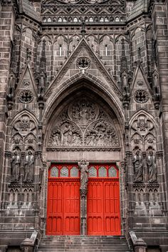 Cathedral of Clermont-Ferrand, Clermont-Ferrand in the Auvergne, France. It is built entirely in black lava stone.