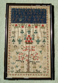 ANTIQUE EMBROIDERY ADAM & EVE SAMPLER DATED BY RACHEL TODD AGED 10 CIRCA 1857