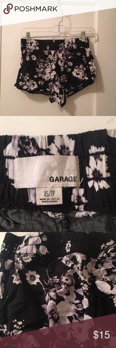 Floral shorts Lavendar and black floral shorts. Stretchy waistband. Garage Bottoms Shorts