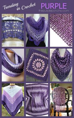 Trending In Crochet – Purple! Get these free pattern links on The Purple Poncho.