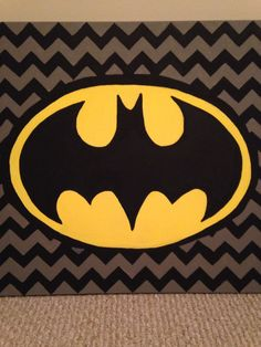 Superhero wall art - Batman Supplies - 20x20 canvas, acrylic paint, charcoal, and some paint brushes are all you need.  Instructions - Print out a 20x20 print of your favorite superhero logo. Rub charcoal over the back of the printout. Place print out charcoal side down onto the canvas in the desired position. Trace edges of logo with end of paint brush to transfer image. Remove paper and discard. Paint the canvas with the colors of your choice! So easy!!