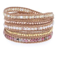 Pink Pearl Mix Sectioned Wrap Bracelet on Beige Leather