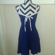 Flirty Nautical Dress Built in bralette.  Gorgeous navy blue.   Lots of stretch and soft. Dresses Midi
