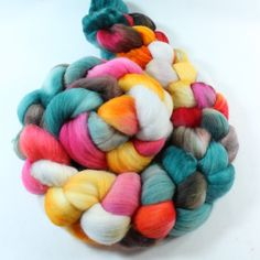 """""""Circus"""" - Rambouillet Wool Roving  Hand Painted Hand Dyed by SpunRightRound"""