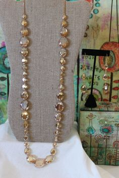 Alternating Ovals of Golden Crystals Necklace & by dimples211, $25.00