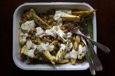 Grilled Summer Squash with Charred Chickpeas, Raisins + Garlic-Yogurt Sauce - Food 52 Grilled Squash, Grilled Zucchini, Vegetarian Recipes, Cooking Recipes, Healthy Recipes, Healthy Food, Thai Cooking, Cooking Bacon, Yogurt Recipes