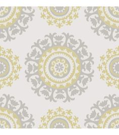 WallPops® NuWallpaper™ Gray and Yellow Suzani Peel And Stick Wallpaper