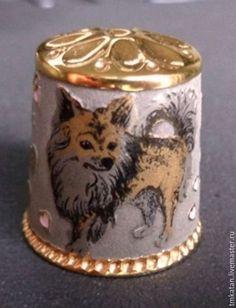 Персональные подарки ручной работы. Ярмарка Мастеров - ручная работа. Купить Авторский наперсток ручной работы сувенир в подарок Собака и Мышь. Handmade.