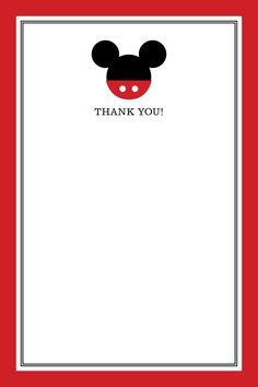 mickey mouse thank you card . custom