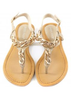 f2937ae8fb8802 Designer Desirables Crystal   Gold Chain Flat Toe Post Sandals Flat  Sandles