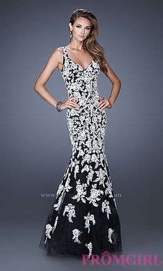 Long Lace V-Neck Mermaid Gown by La Femme at PromGirl.com